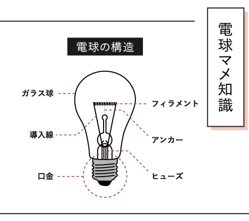 〈電球マメ知識〉電球の構造の説明画像