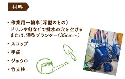 材料 ・ 作業用一輪車(深型のもの) ドリルや釘などで排水の穴を空ける または、深型プランター(35cm〜) ・ スコップ ・ 手袋 ・ ジョウロ ・ 竹支柱